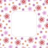 与花的逗人喜爱的背景样式边界框架 免版税库存照片