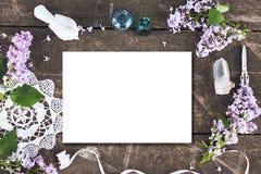 与花的逗人喜爱的葡萄酒摄影 平的位置顶视图 免版税库存图片