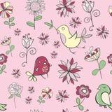 与花的逗人喜爱的滑稽的小的鸟在桃红色的淡色 库存照片