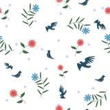 与花的鸟 无缝的模式 库存图片