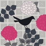与花的鸟 免版税库存照片