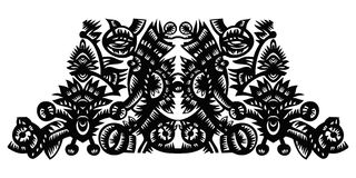 与花的黑色装饰模式 库存照片