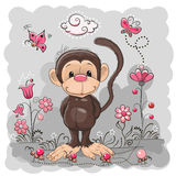 与花的猴子 向量例证