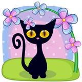 与花的黑小猫 免版税库存图片