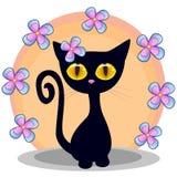 与花的黑小猫 库存图片