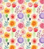 与花的水彩样式 免版税库存图片