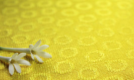 与花的黄色布料 免版税库存照片