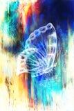 与花的蝴蝶 原始的手凹道 计算机拼贴画和抽象背景 免版税库存照片