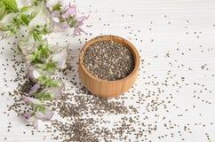 与花的Chia种子健康超级食物在白色 库存照片