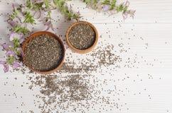 与花的Chia种子健康超级食物 免版税库存照片