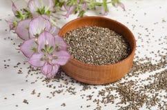 与花的Chia种子健康超级食物 图库摄影