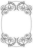 与花等高的典雅的卵形框架  光栅剪贴美术 免版税库存图片