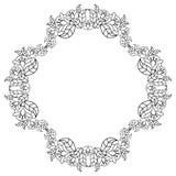 与花等高的典雅的圆的框架  光栅剪贴美术 免版税库存图片