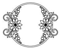 与花等高的典雅的圆的框架  光栅剪贴美术 库存照片