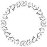 与花等高的典雅的圆的框架  光栅剪贴美术 免版税库存照片
