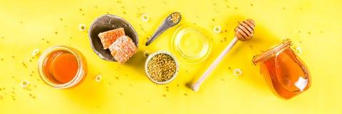 与花粉和蜂蜜梳子的蜂蜜 库存照片