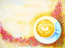 与花背景水彩绘画的新鲜的早晨咖啡 免版税库存图片