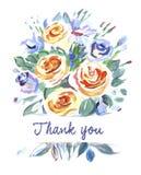 与花花束的传染媒介卡片  查出的看板卡礼品感谢白色您 库存照片