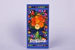 与花花束的手工制造贺卡  免版税库存图片