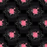 与花花束的无缝的花卉背景  上色模式可能的变形多种向量 墙纸、织品、数字式纸等等的葡萄酒装饰品 免版税库存照片