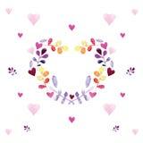 与花饰的浪漫水彩卡片 免版税图库摄影