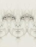 与花饰的神秘的人面孔 画在纸张 目光接触 免版税图库摄影