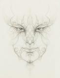 与花饰的神秘的人面孔 画在纸张 目光接触 库存图片