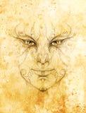 与花饰的神秘的人面孔 画在纸,颜色作用 目光接触 免版税库存照片