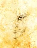 与花饰的神秘的人面孔 画在纸,颜色作用 目光接触 图库摄影