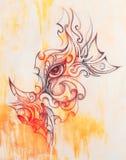与花饰的神秘的妇女眼睛 画在纸,颜色作用 目光接触 库存例证