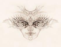与花饰的神秘的妇女面孔 画在纸,目光接触 皇族释放例证