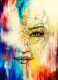 与花饰的神秘的妇女面孔 画在纸,颜色作用 目光接触 计算机拼贴画 向量例证