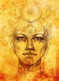 与花饰的神秘的妇女面孔 画在纸,颜色作用 目光接触 皇族释放例证