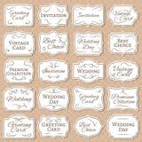 与花饰的葡萄酒框架 减速火箭的维多利亚女王时代的婚礼标签 被隔绝的古色古香的传染媒介贴纸 向量例证