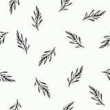 与花饰的黑白无缝的装饰样式 库存图片