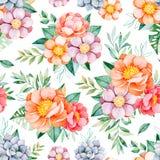 与花,牡丹,叶子,分支,玫瑰,叶子的可爱的无缝的样式 向量例证