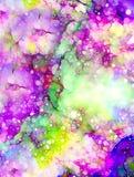 与花,颜色星系背景,计算机拼贴画的宇宙空间 向量例证