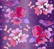 与花,鸟,在蓝色的心脏的多色无缝的样式 免版税库存图片