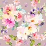 与花水彩的无缝的样式 免版税库存图片