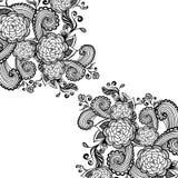 与花黑色的禅宗乱画背景在白色 向量例证