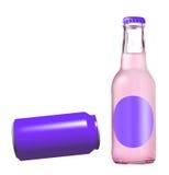与苏打的紫罗兰色铝罐在玻璃瓶 免版税库存照片