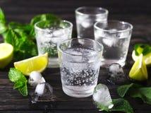 与苏打水、冰、石灰和薄菏的鸡尾酒 免版税库存图片
