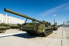与苏联坦克,军事历史博物馆, Ekaterinburg,俄罗斯展览交战  免版税库存照片