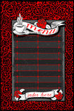 与英国兰开斯特家族族徽和横幅的葡萄酒黑暗的菜单 库存照片