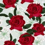 与英国兰开斯特家族族徽和白色草本的无缝的花卉样式在轻的薄荷的背景 向量例证