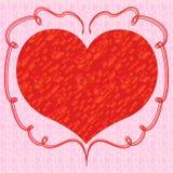 与英国兰开斯特家族族徽的心脏在桃红色背景 库存图片
