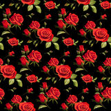 与英国兰开斯特家族族徽的无缝的花卉样式在黑背景 免版税库存图片