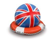 与英国旗子的球在lifebuoy 免版税库存照片