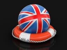 与英国旗子的球在lifebuoy 免版税图库摄影