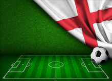 与英国的旗子的足球或橄榄球场 免版税库存图片